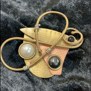 Abstract Handmade Copper and Brass Brooch